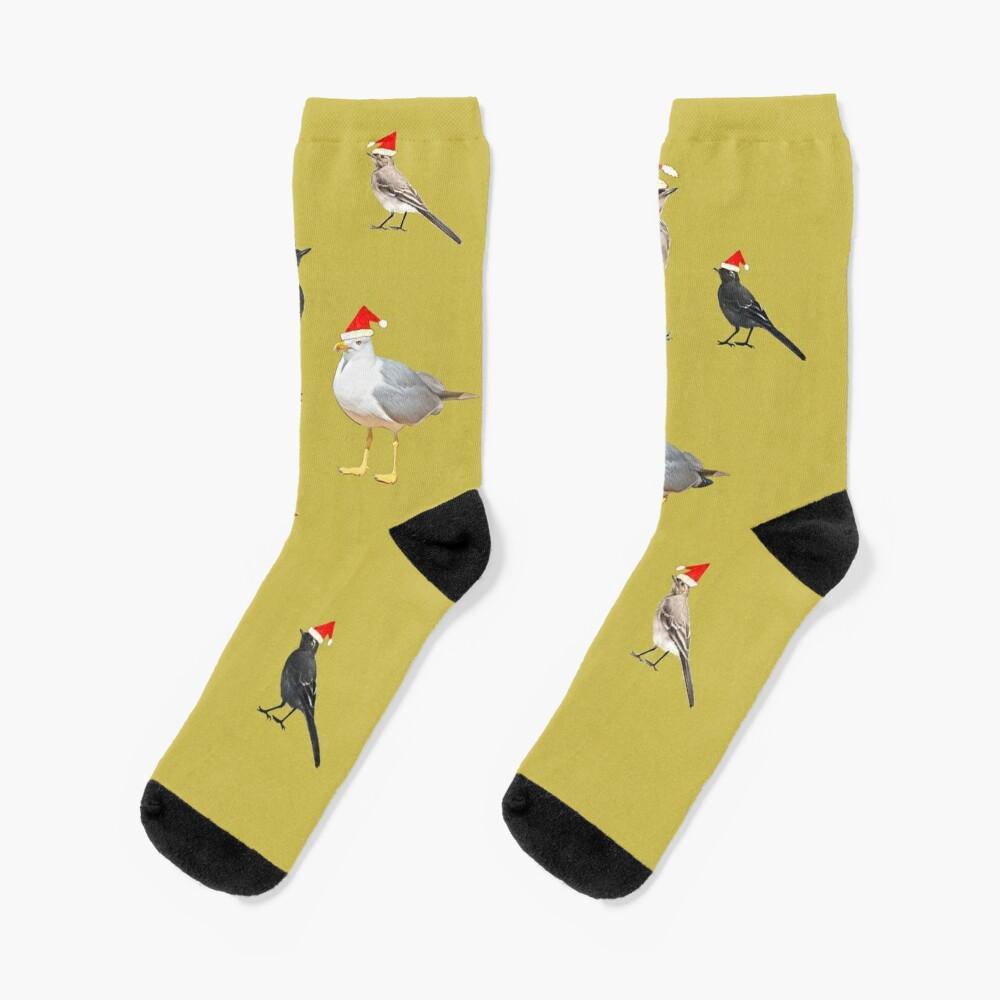 Birds having Christmas party (yellowish) Socks
