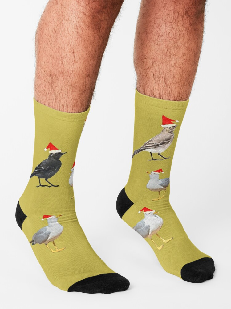 Alternate view of Birds having Christmas party (yellowish) Socks