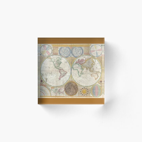 Vintage map of the world 1794 Acrylic Block