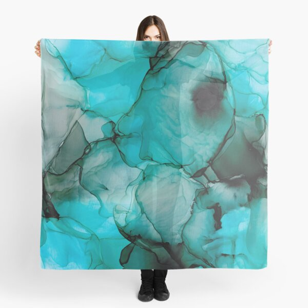 Mystic Water: Original Abstract Alcohol Ink Painting Scarf
