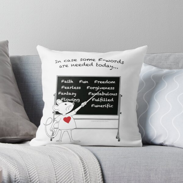MantraMouse® Positive F-Words Cartoon Throw Pillow