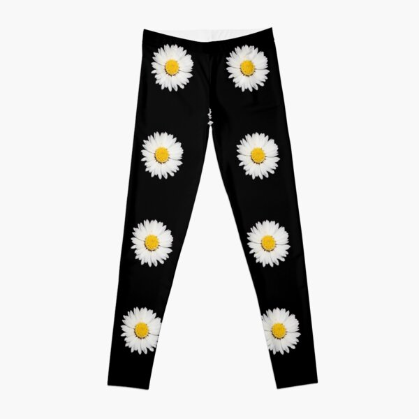 Top View Of A White Common Daisy Isolated Leggings
