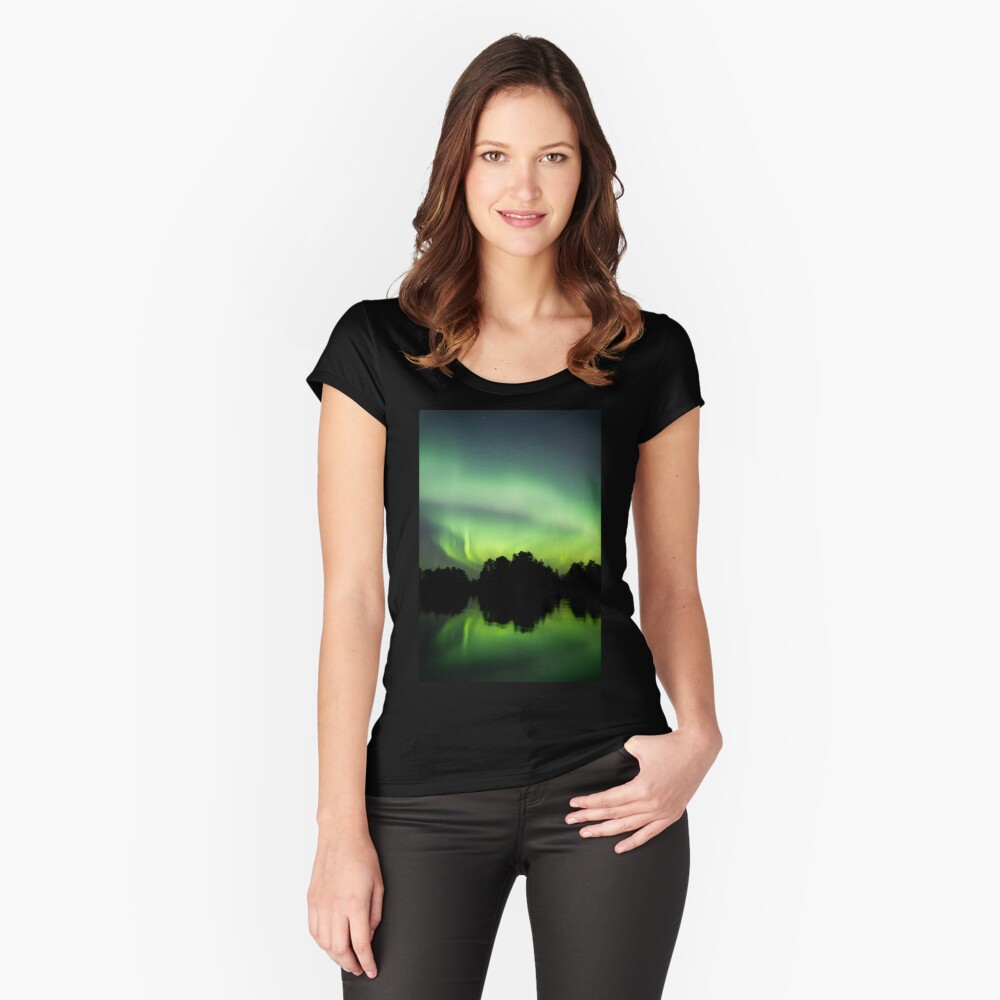 Northern lights glowing over lake in Finland Fitted Scoop T-Shirt