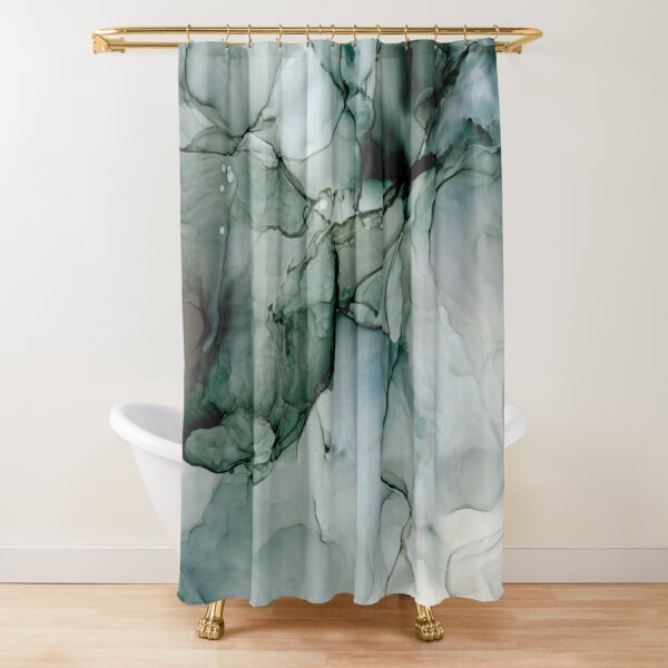 Charcoal Wisp: Original Abstract Alchol Ink Painting Shower Curtain