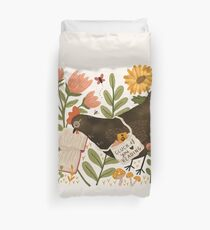 Chicken Reading a Book Duvet Cover
