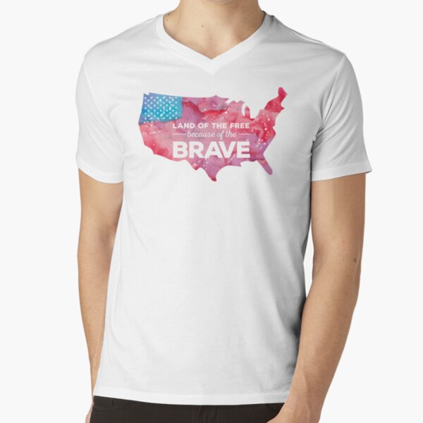 Land of the Free because of the Brave Watercolor V-Neck T-Shirt