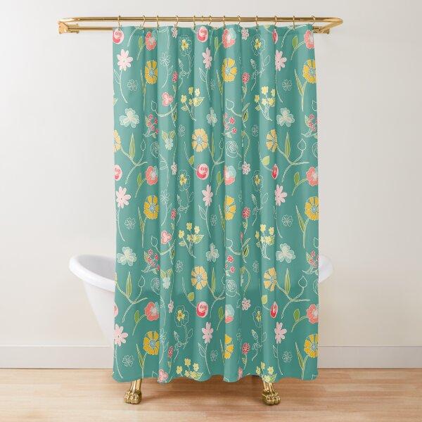 Botanical sketch robin's egg blue and sunshine Shower Curtain