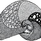psychedelic trippy dream black and white high contrast naughtical snail shell by karen-anne geddes by puzzledcellist