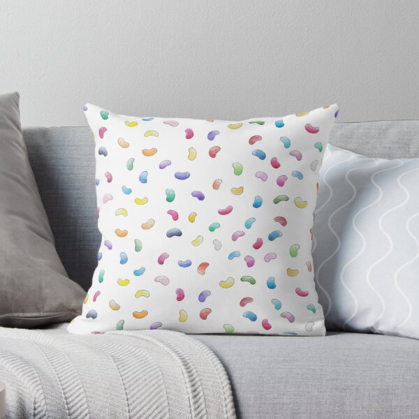 Magic Jelly Beans | Fun Rainbow Candy Pattern White Throw Pillow