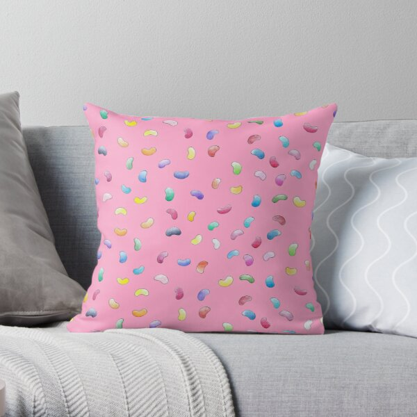 Magic Jelly Beans | Fun Rainbow Candy Pattern Pink Throw Pillow