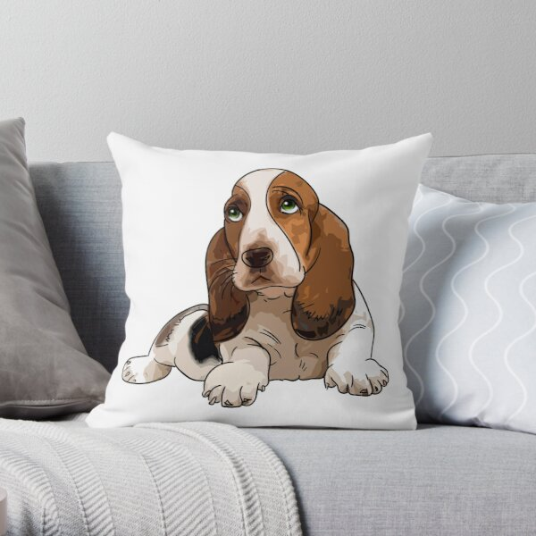 Basset Hound Throw Pillow