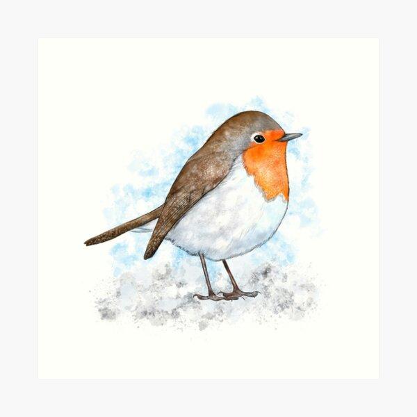 Robin in the snow Art Print