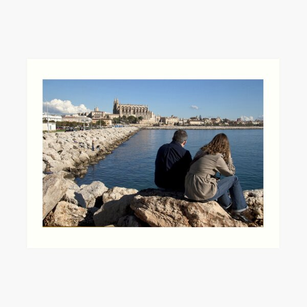 View of the Cathedral from a spot in Palma harbour Art Print