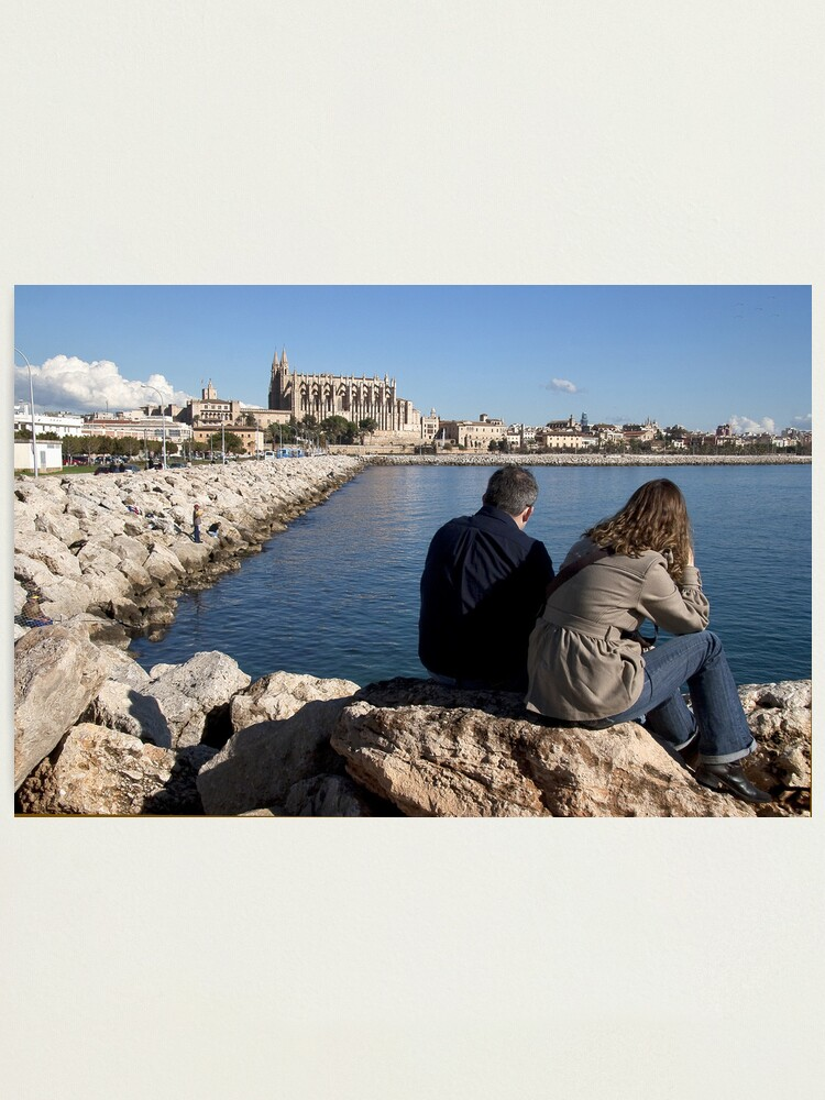 Alternate view of View of the Cathedral from a spot in Palma harbour Photographic Print