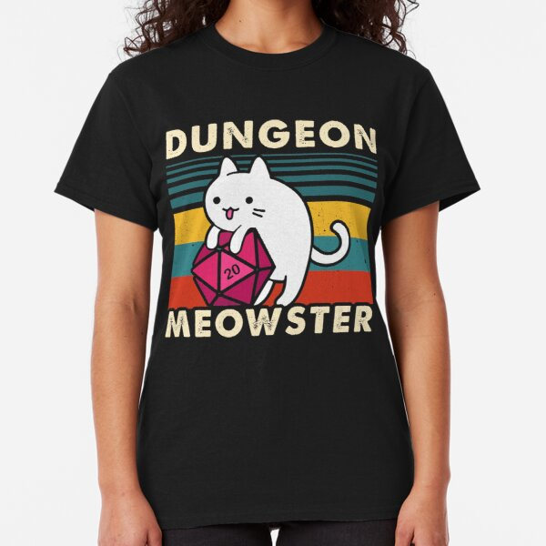 Dungeon Meowster Funny DnD Tabletop Gamer Cat D20  Classic T-Shirt