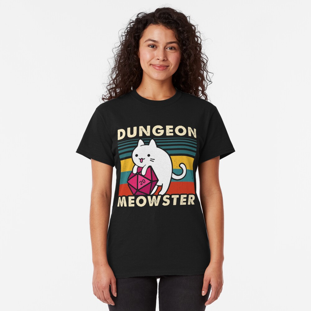 Dungeon Meowster Divertido DnD Tablero Gamer Cat D20 Camiseta clásica