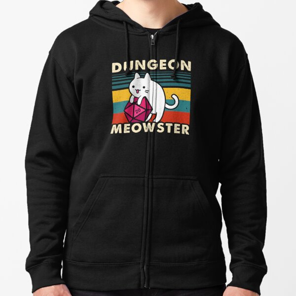Dungeon Meowster Funny DnD Tabletop Gamer Cat D20  Zipped Hoodie