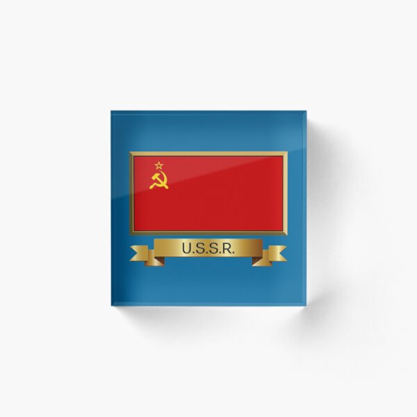 Soviet Union - USSR Named Flag Stickers, Gifts and Products Acrylic Block