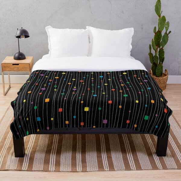 Squares and Vertical Stripes - Rainbow on Black - Hanging Throw Blanket