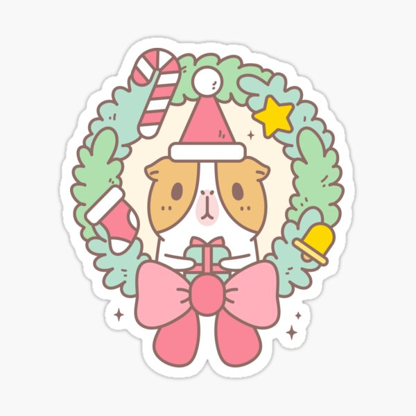 Bubu the Guinea pig, Christmas Wreath Sticker