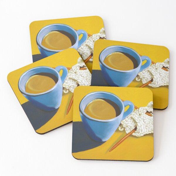 coffee and knitting original art Coasters (Set of 4)