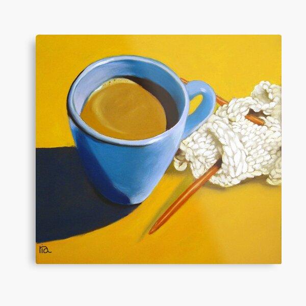 coffee and knitting original art Metal Print