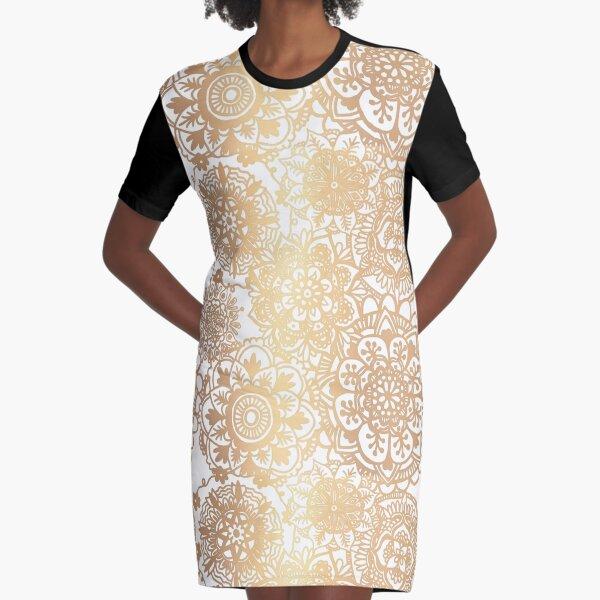 Gold Mandala Pattern Graphic T-Shirt Dress