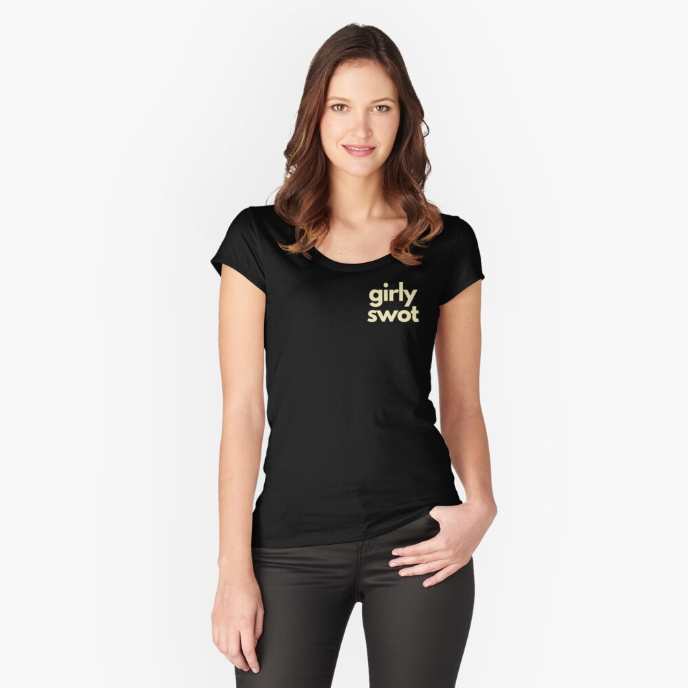 Girly Swot in Cream Fitted Scoop T-Shirt