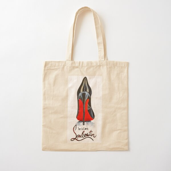 Classic Red Bottom Christian Louboutin High Heel Cotton Tote Bag