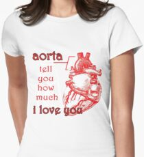 Aorta Tell You How Much I Love You Womens Fitted T-Shirt