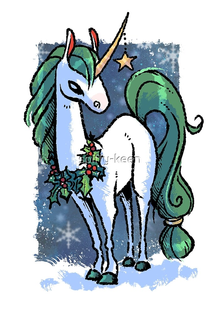 Christmas Unicorn by spiffy-keen