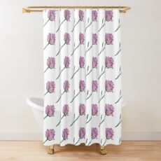 Pink Rose - single bloom realistic painting Shower Curtain