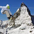 snowboarder and matterhorn by neil harrison