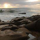 Waves in Sunset at Casa Beach, La Jolla by Anna Lisa Yoder