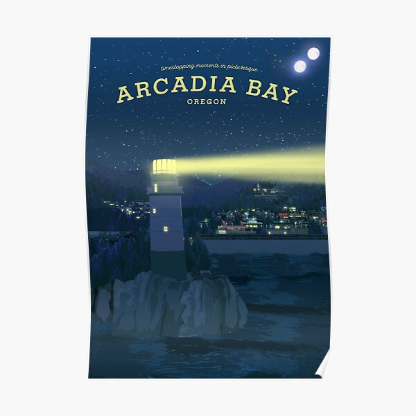 La vie est étrange - Affiche de voyage d'Arcadia Bay (nuit) Poster