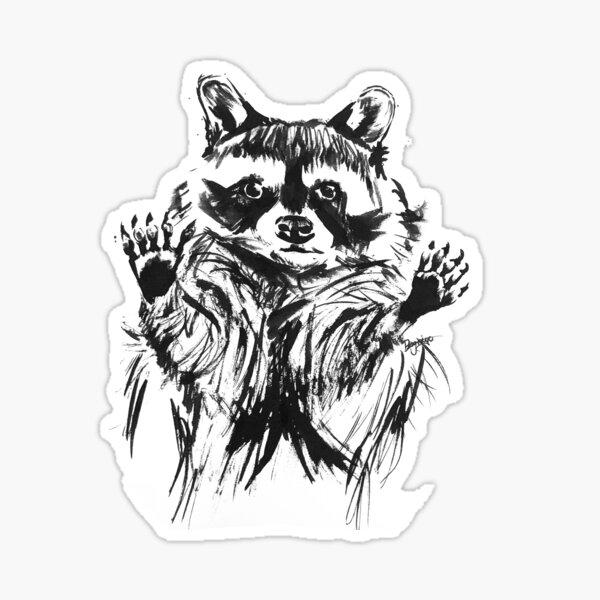 Trash Panda Boy - Raccoon Ink Illustration Sticker