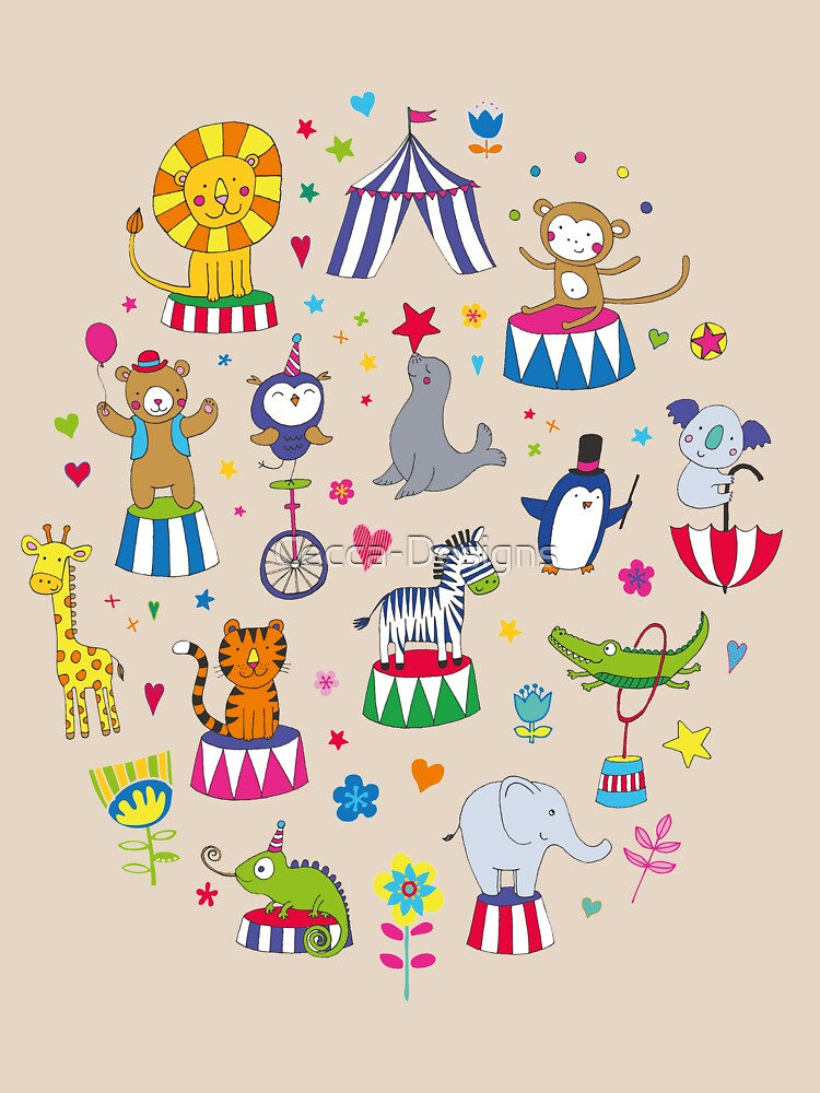 Circus Animal Alphabet - multicoloured on cream - Cute animal pattern by Cecca Designs by Cecca-Designs