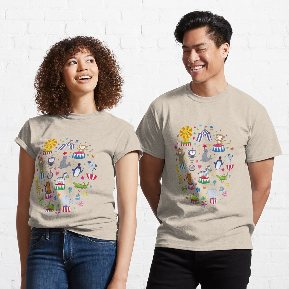 Circus Animal Alphabet - multicoloured on cream - Cute animal pattern by Cecca Designs Classic T-Shirt