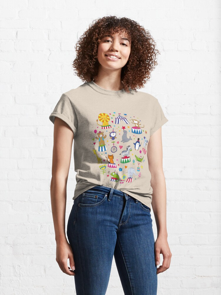 Alternate view of Circus Animal Alphabet - multicoloured on cream - Cute animal pattern by Cecca Designs Classic T-Shirt