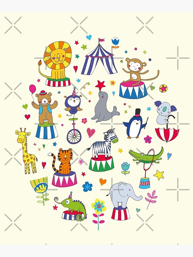 Circus Animal Alphabet - multicoloured on cream - Cute animal pattern by Cecca Designs by Cecca-Designs