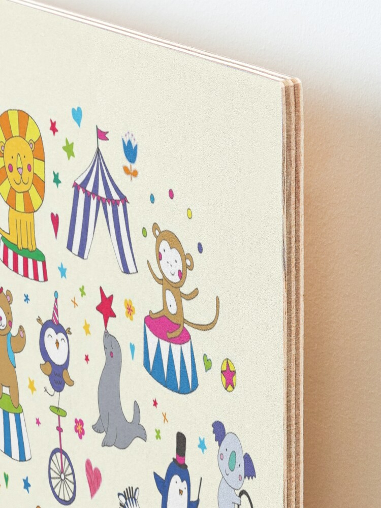 Alternate view of Circus Animal Alphabet - multicoloured on cream - Cute animal pattern by Cecca Designs Mounted Print