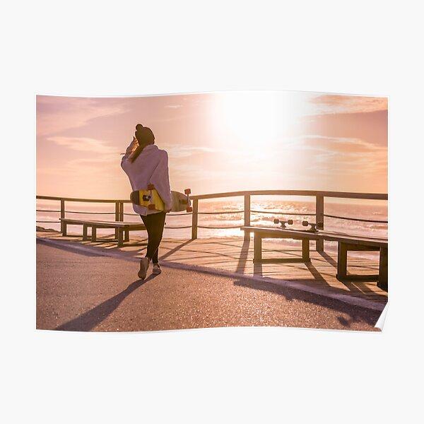 Girl holding a skateboard  Poster