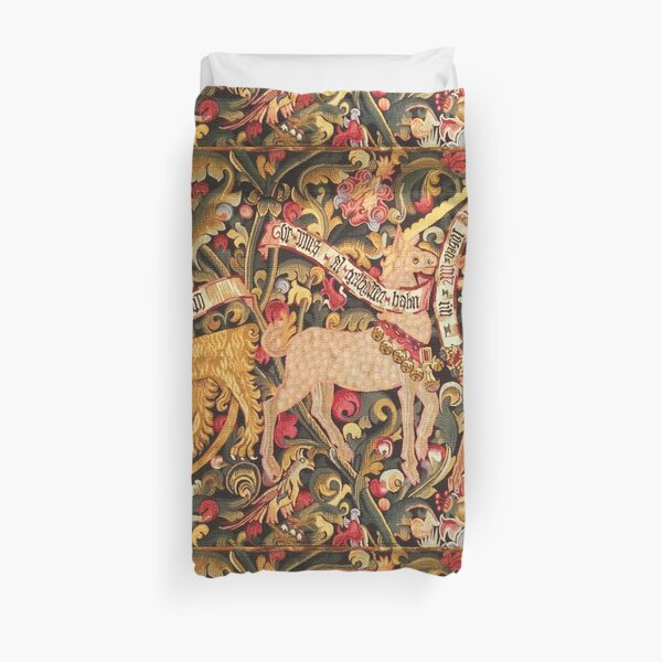 UNICORN;DRAGON,LION,STAG AND OTHER ANIMALS Floral Medieval Tapestry Duvet Cover