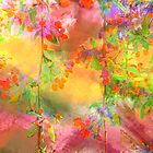 Garlands of blooms - hot pink and yellow by Tummy Rubb Studio
