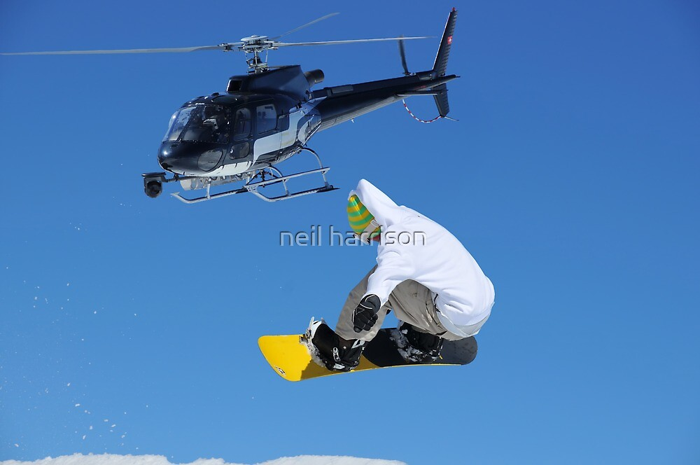 helicopter and snowboarder by neil harrison