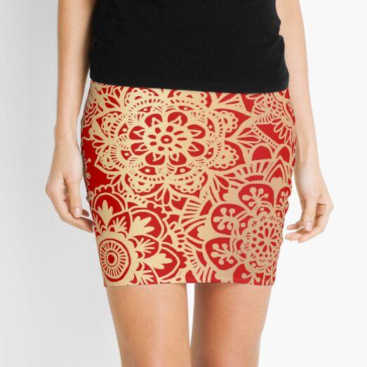 Red and Gold Mandala Pattern Mini Skirt