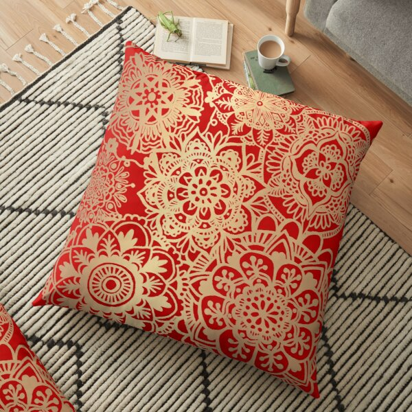 Red and Gold Mandala Pattern Floor Pillow