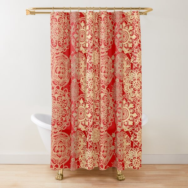 Red and Gold Mandala Pattern Shower Curtain