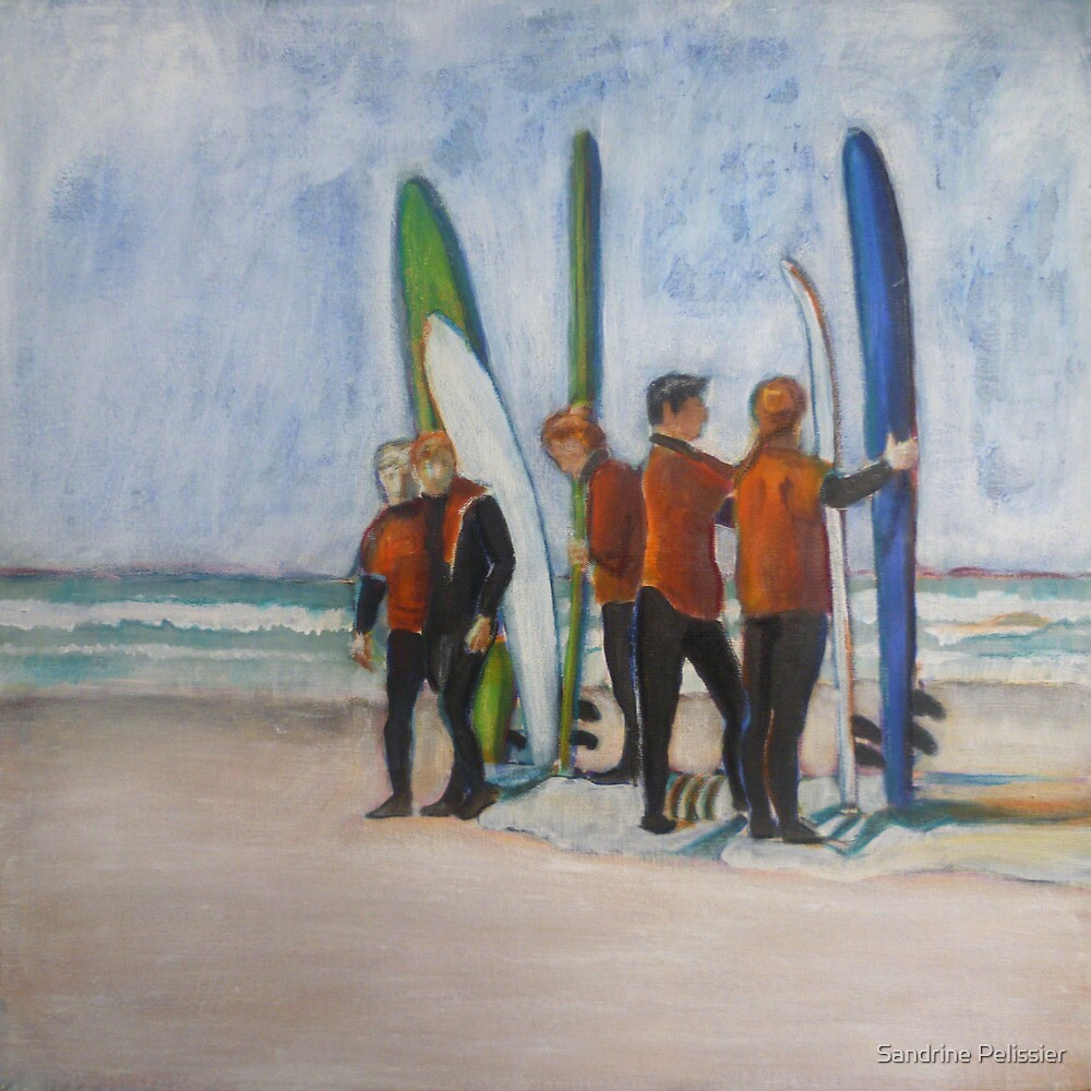 Surfers in Tofino, mixed media on canvas by Sandrine Pelissier