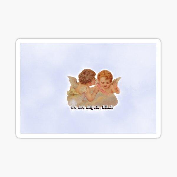 Blue Cloudy Angels Sticker Sticker